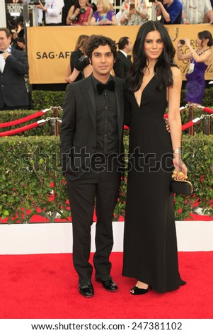 LOS ANGELES - JAN 25:  Kunal Nayyar, Neha Kapur at the 2015 Screen Actor Guild Awards at the Shrine Auditorium on January 25, 2015 in Los Angeles, CA - stock photo