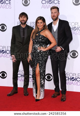 LOS ANGELES - JAN 07:  Lady Antebellum arrives to the People's Choice Awards 2014  on January 7, 2015 in Los Angeles, CA                 - stock photo