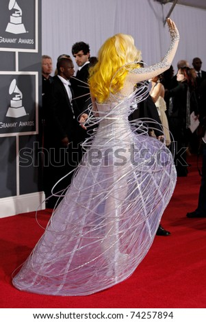 LOS ANGELES - JAN 31:  Lady Gaga arriving at the 52nd Annual GRAMMY Awards held at Staples Center in Los Angeles, California on January 31, 2010. - stock photo