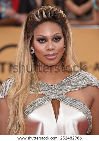 LOS ANGELES - JAN 25:  Laverne Cox arrives to the 21st Annual Screen Actors Guild Awards  on January 25, 2015 in Los Angeles, CA                 - stock photo