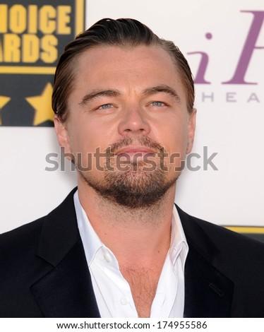 LOS ANGELES - JAN 16:  Leonardo DiCaprio arrives to the Critics' Choice Movie Awards 2014  on January 16, 2014 in Santa Monica, CA                 - stock photo