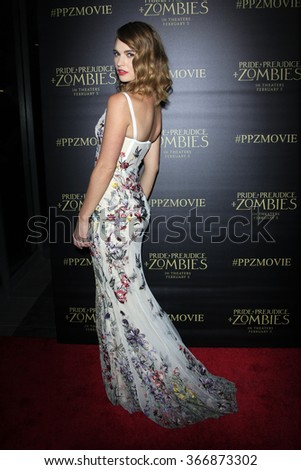 LOS ANGELES - JAN 21:  Lily James at the Pride And Prejudice And Zombies Premiere at the Harmony Gold Theatre on January 21, 2016 in Los Angeles, CA - stock photo