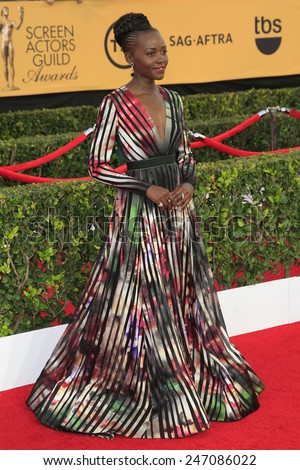 LOS ANGELES - JAN 25:  Lupita Nyong'o at the 2015 Screen Actor Guild Awards at the Shrine Auditorium on January 25, 2015 in Los Angeles, CA - stock photo