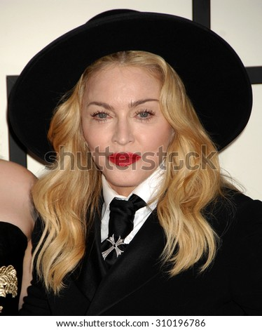LOS ANGELES - JAN 26:  Madonna  arrives at the 56th Annual Grammy Awards Arrivals  on January 26, 2014 in Los Angeles, CA                 - stock photo