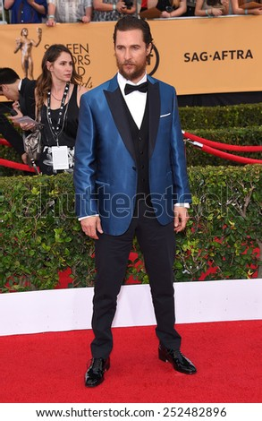 LOS ANGELES - JAN 25:  Matthew McConaughey arrives to the 21st Annual Screen Actors Guild Awards  on January 25, 2015 in Los Angeles, CA                 - stock photo