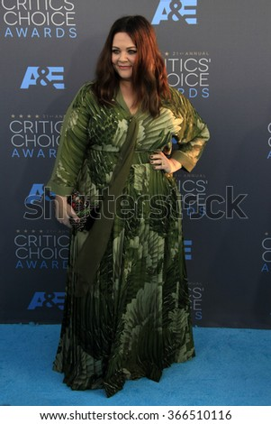 LOS ANGELES - JAN 17:  Melissa McCarthy at the 21st Annual Critics Choice Awards at the Barker Hanger on January 17, 2016 in Santa Monica, CA - stock photo