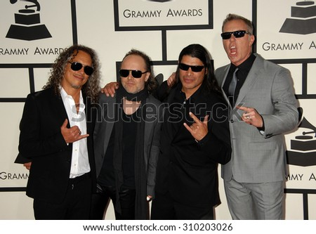 LOS ANGELES - JAN 26:  Metallica arrives at the 56th Annual Grammy Awards Arrivals  on January 26, 2014 in Los Angeles, CA                 - stock photo