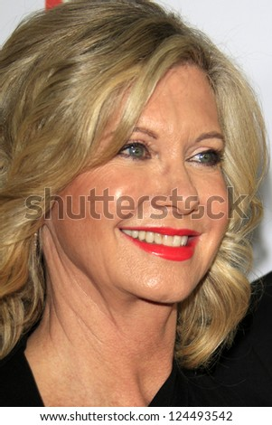 LOS ANGELES - JAN 12:  Olivia Newton-John arrives at the 2013 G'Day USA Los Angeles Black Tie Gala at JW Marriott on January 12, 2013 in Los Angeles, CA.. - stock photo