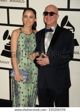 LOS ANGELES - JAN 26:  Paul Shaffer and daughter Victoria arrives at the 56th Annual Grammy Awards Arrivals  on January 26, 2014 in Los Angeles, CA                 - stock photo