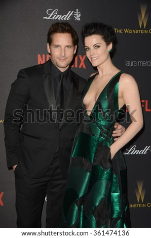 LOS ANGELES - JAN 10:  Peter Facinelli, Jaimie Alexander at the Weinstein Company & Netflix 2016 Golden Globe After Party at the Beverly Hilton on January 10, 2016 in Beverly Hills, CA - stock photo