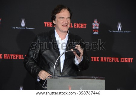 LOS ANGELES - JAN 5:  Quentin Tarantino at the Quentin Tarantino Hand & Footprints Ceremony at the TCL Chinese Theater IMAX on January 5, 2016 in Los Angeles, CA - stock photo