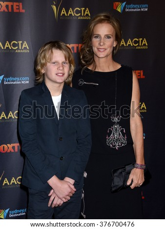 LOS ANGELES - JAN 29 - Rachel Griffiths and son Banjo Taylor arrives at the 5th AACTA International Awards on January 29, 2016 in Hollywood, CA              - stock photo