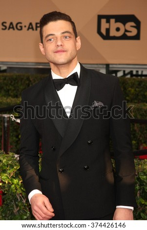 LOS ANGELES - JAN 30:  Rami Malek at the 22nd Screen Actors Guild Awards at the Shrine Auditorium on January 30, 2016 in Los Angeles, CA - stock photo