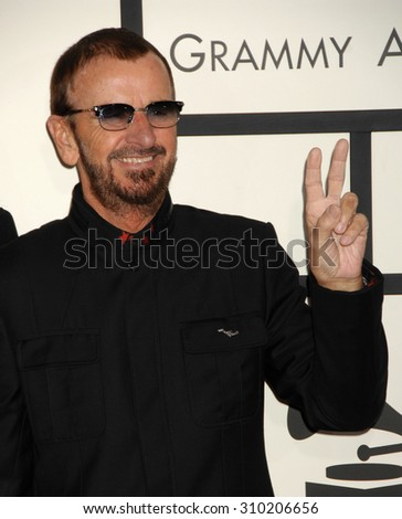 LOS ANGELES - JAN 26:  Ringo Starr arrives at the 56th Annual Grammy Awards Arrivals  on January 26, 2014 in Los Angeles, CA                 - stock photo