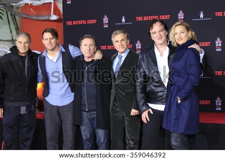 LOS ANGELES - JAN 5: Robert Forster, Channing Tatum, Tim Roth, Christoph Waltz, Quentin Tarantino, Zoe Bell at the TCL Chinese Theatreon January 5, 2016 in Los Angeles, CA - stock photo
