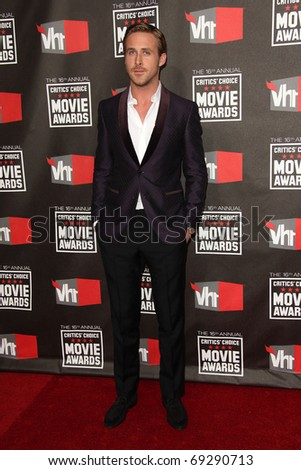 """LOS ANGELES - JAN 14:  Ryan Gosling arrives at the 16th Annual """"Critics"""" Choice Movie Awards  on January 14, 2011 in Los Angeles, CA - stock photo"""