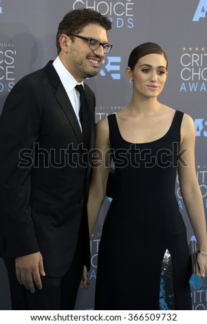 LOS ANGELES - JAN 17:  Sam Esmail, Emmy Rossum at the 21st Annual Critics Choice Awards at the Barker Hanger on January 17, 2016 in Santa Monica, CA - stock photo