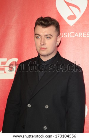LOS ANGELES - JAN 24:  Sam Smith at the 2014 MusiCares Person of the Year Gala in honor of Carole King at Los Angeles Convention Center on January 24, 2014 in Los Angeles, CA - stock photo