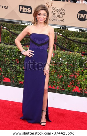 LOS ANGELES - JAN 30:  Sarah Hyland at the 22nd Screen Actors Guild Awards at the Shrine Auditorium on January 30, 2016 in Los Angeles, CA - stock photo