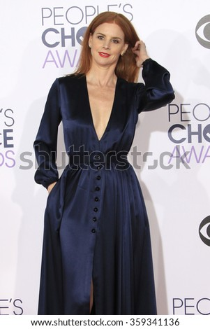 LOS ANGELES - JAN 6:  Sarah Rafferty at the Peoples Choice Awards 2016 - Arrivals at the Microsoft Theatre L.A. Live on January 6, 2016 in Los Angeles, CA - stock photo