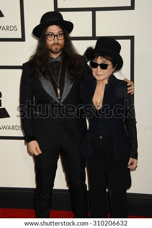 LOS ANGELES - JAN 26:  Sean Lennon and mother Yoko Ono arrives at the 56th Annual Grammy Awards Arrivals  on January 26, 2014 in Los Angeles, CA                 - stock photo