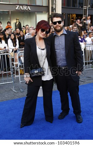 LOS ANGELES - JAN 23: Sharon Osbourne and Jack Osbourne at the premiere of 'Gnomeo & Juliet'  on January 23, 2011 in Los Angeles, California - stock photo