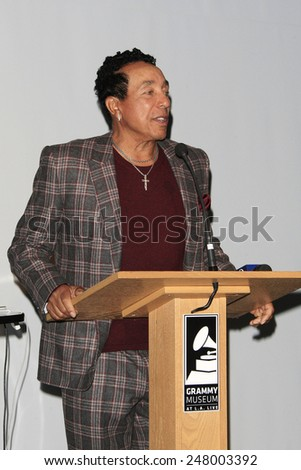 LOS ANGELES - JAN 28: Smokey Robinson at the 30th Anniversary of 'We Are The World' at The GRAMMY Museum on January 28, 2015 in Los Angeles, California - stock photo
