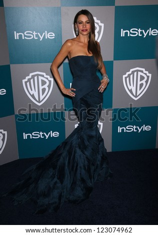 LOS ANGELES - JAN 15:  Sophia Vergara arriving to Golden Globes 2012 After Party: WB / In Style  on January 15, 2012 in Beverly Hills, CA - stock photo