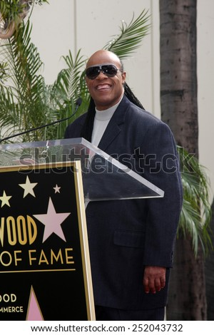 LOS ANGELES - JAN 28:  Stevie Wonder at the Ken Ehrlich Hollywood Walk of Fame Star Ceremony at a Capital Records Building on January 28, 2015 in Los Angeles, CA - stock photo