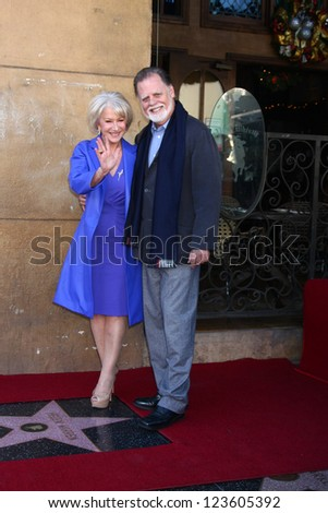 LOS ANGELES - JAN 3:  Taylor Hackford, Helen Mirren at the Hollywood Walk of Fame Star Ceremony for Helen Mirren at Pig 'n Whistle on January 3, 2013 in Los Angeles, CA - stock photo