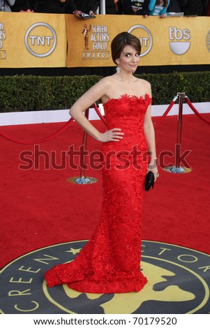 LOS ANGELES - JAN 30:  Tina Fey arrives at the 2011 Screen Actors Guild Awards  at Shrine Auditorium on January 30, 2011 in Los Angeles, CA - stock photo