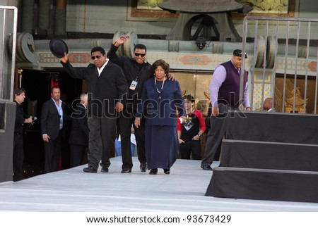 LOS ANGELES - JAN 26:  Tito, Jackie, & Katherine Jackson at the Michael Jackson Immortalized  Handprint and Footprint Ceremony at Graumans Chinese Theater on January 26, 2012 in Los Angeles, CA - stock photo