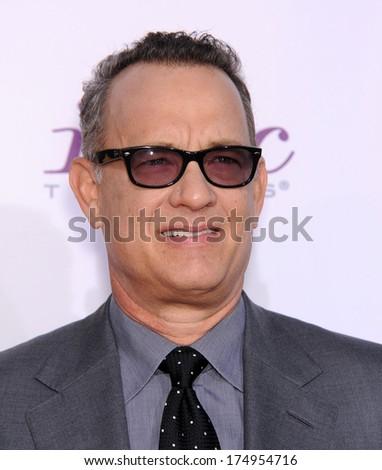 LOS ANGELES - JAN 16:  Tom Hanks arrives to the Critics' Choice Movie Awards 2014  on January 16, 2014 in Santa Monica, CA                 - stock photo