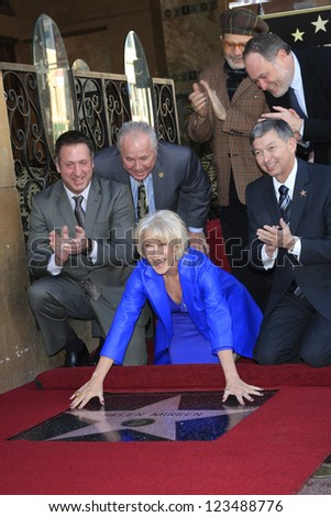 LOS ANGELES - JAN 3: Tom LaBonge, Jon Turtletaub, David Mamet, Helen Mirren, Leron Gubler, Taylor Hackford  as Helen Mirren is honored with star on January 3, 2013 in Los Angeles, California - stock photo