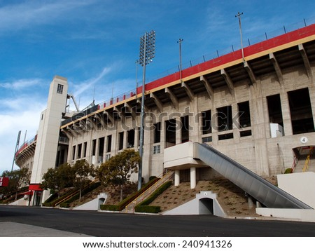 LOS ANGELES - JANUARY 21: Exterior of Memorial Coliseum stadium which is the site of many landmark events including two summer Olympics the latest in 1984.  January 21, 2014, Los Angeles. - stock photo