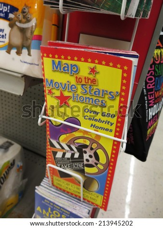 LOS ANGELES - JANUARY 20: Map to the Movie Stars' Homes for sale at convenience store, featuring the listing over 580 Celebrity homes, in Los Angeles, CA.  - stock photo