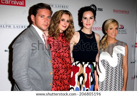 "LOS ANGELES - JUL 22:  Allen Leech, Laura Carmichael, Michelle Dockery, Joanne Froggatt at the ""Downton Abbey"" Photo Call at the Beverly Hilton Hotel on July 22, 2014 in Beverly Hills, CA"