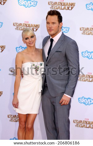 "LOS ANGELES - JUL 21:  Anna Faris, Chris Pratt at the ""Guardians Of The Galaxy"" Premiere at the Dolby Theater on July 21, 2014 in Los Angeles, CA - stock photo"