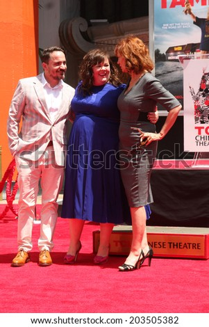 LOS ANGELES - JUL 2:  Ben Falcone, Melissa McCarthy, Susan Sarandon at the Melissa McCarthy Hand and Footprint Ceremony at the TCL Chinese Theater on July 2, 2014 in Los Angeles, CA