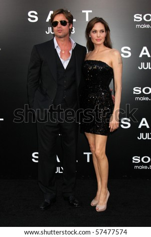 """LOS ANGELES - JUL 19:  Brad Pitt & Angelina Jolie arrive at the """"Salt"""" Premiere at Grauman's Chinese Theater on July19, 2010 in Los Angeles, CA .... - stock photo"""