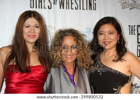 "LOS ANGELES - JUL 23:  Carolin Von Petzholdt, Ursel Walldorf, guest at the ""The Boom Boom Girls of Wrestling"" Premiere at the Downtown Independent Theater on July 23, 2015 in Los Angeles, CA - stock photo"