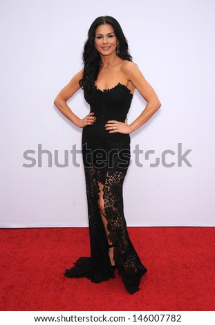"""LOS ANGELES - JUL 11:  Catherine Zeta Jones arrives to the """"Red 2"""" Los Angeles Premiere  on July 11, 2013 in Westwood, CA                 - stock photo"""