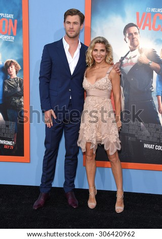 "LOS ANGELES - JUL 27:  Chris Hemsworth & Elsa Pataky arrives to the ""Vacation"" Los Angeles Premiere  on July 27, 2015 in Westwood, CA                 - stock photo"
