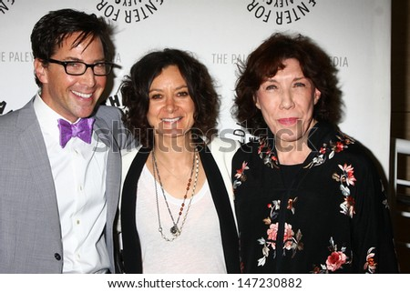 """LOS ANGELES - JUL 16:  Dan Bucatinsky, Sara Gilbert, Lily Tomlin arrives at  """"An Evening With Web Therapy: The Craze Continues..."""" at the Paley Center for Media on July 16, 2013 in Beverly Hills, CA - stock photo"""