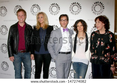 """LOS ANGELES - JUL 16:  Don Roos, Lisa Kudrow, Dan Bucatinsky, Sara Gilbert, Lily Tomlin arrives at  """"An Evening With Web Therapy"""" at the Paley Center on July 16, 2013 in Beverly Hills, CA - stock photo"""