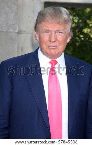 LOS ANGELES - JUL 24:  Donald Trump arrives at  the 12th Annual HollyRod Foundation DesignCare Event at Ron Burkle's Green Acres Estate on July24, 2010 in Beverly Hills, CA .... - stock photo