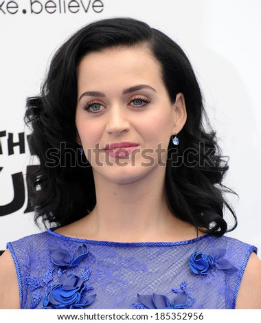 "LOS ANGELES - JUL 28:  Katy Perry arrives to the ""The Smurfs 2"" Los Angeles Premiere  on July 28, 2013 in Westwood, CA                 - stock photo"