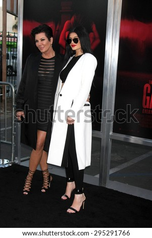 "LOS ANGELES - JUL 7:  Kris Jenner, Kylie Jenner at the ""The Gallows"" Premiere at the Hollywood High School on July 7, 2015 in Los Angeles, CA - stock photo"