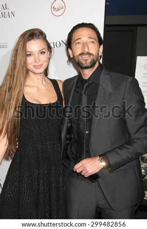 """LOS ANGELES - JUL 9:  Lara Lieto, Adrian Brody at the """"Irrational Man"""" Los Angeles Premiere at the Writer's Guild of America Theater on July 9, 2015 in Beverly Hills, CA  - stock photo"""