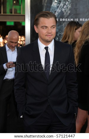 LOS ANGELES - JUL 13:  Leonardo DiCaprio arrives at the Inception Premiere at Grauman's Chinese Theater on July13, 2010 in Los Angeles, CA .... - stock photo